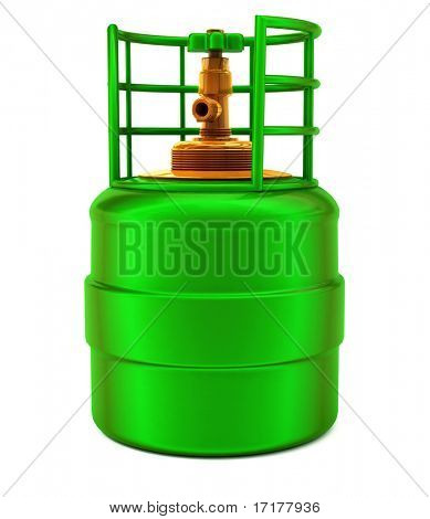 Small green gas bulb isolated over white background high quality 3d model illustration