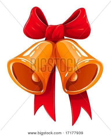 Jingle Christmas bells with red ribbon vector illustration