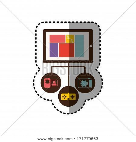 sticker colorful tablet database server icon stock vector illustration