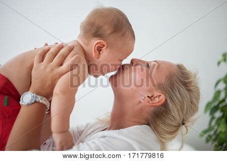 Mother and baby at home