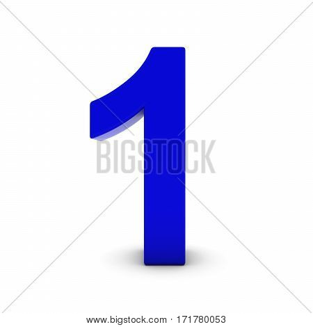 Blue Number One Isolated On White With Shadows 3D Illustration