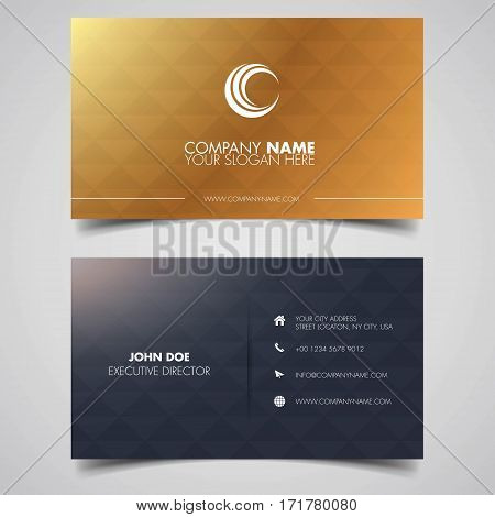 id card black gold polygon, This design is suitable for business cards