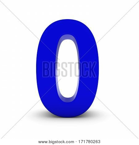 Blue Number Zero Isolated On White With Shadows 3D Illustration