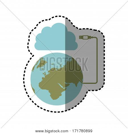 sticker cloud storage global hosting database vector illustration