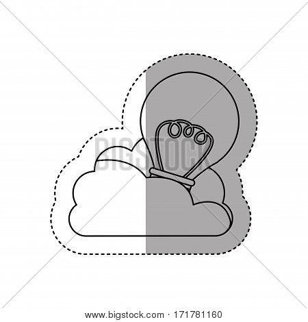 sticker contour cloud in cumulus shape with light bulb with filaments vector illustration