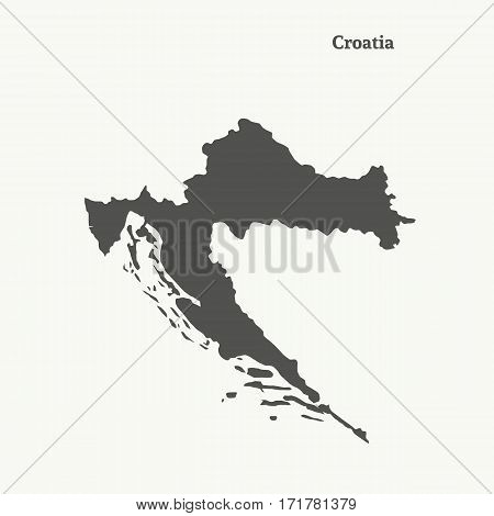 Outline map of Croatia. Isolated vector illustration.