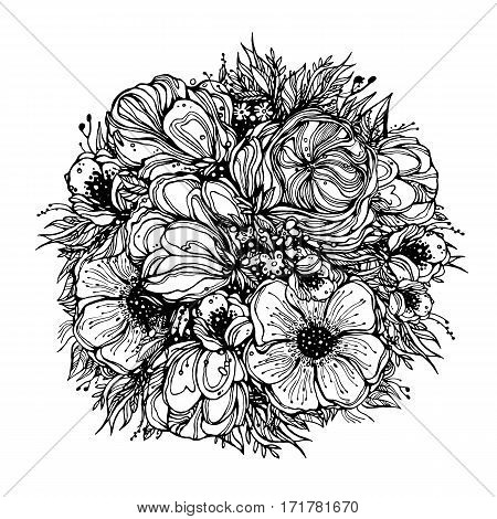 round bouquet of flowers, black graphic contours on a white background. vector illustration