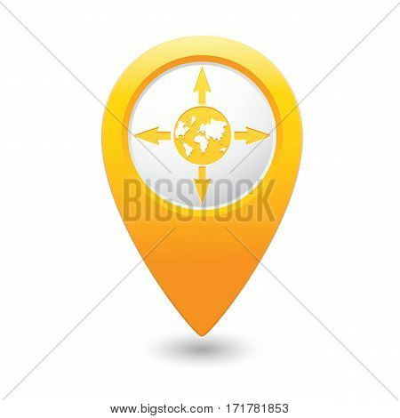 Yellow map ointer with arrows and globe icon. Vector illustration
