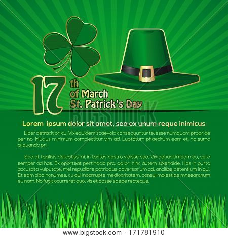 St. Patrick 's Day background with space for text. March 17th. Vector illustration with green leprechaun hat and shamrock clover. Vector symbols of St. Patrick's Day on a retro background