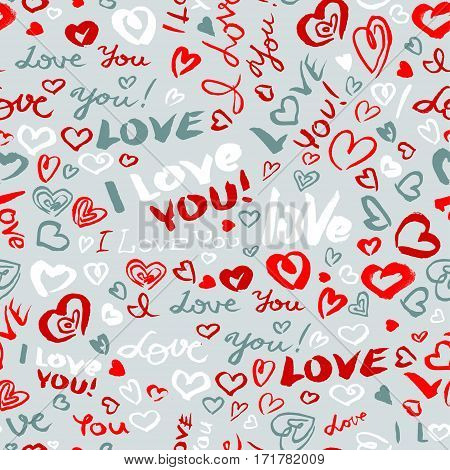Valentine's day or wedding seamless pattern with hearts and I Love You hand drawing lettering. Doodle artistic background in red and grey colors