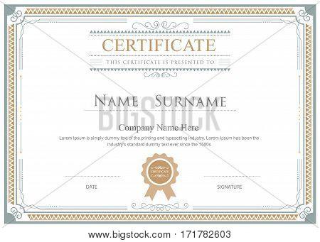 Certificate flourishes elegant border vector template design