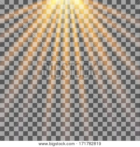 Sun rays on transparent background. Sunlight. Vector illustration.