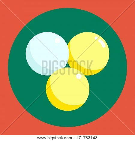 Ping pong ball icon. White and yellow ping pong ball on a green and red background. Sports Equipment. Vector Illustration