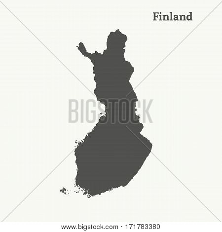 Outline map of Finland. Isolated vector illustration.