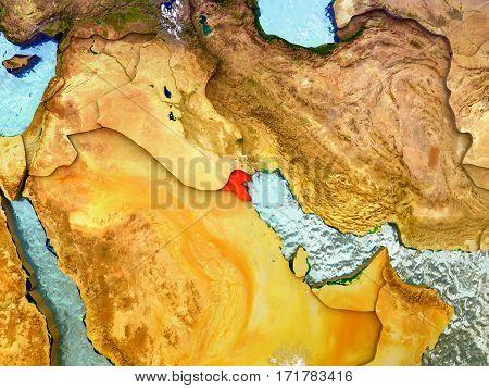 Kuwait On Illustrated Globe