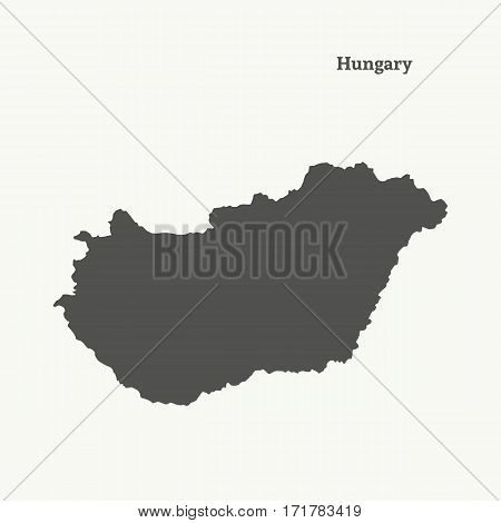 Outline map of Hungary. Isolated vector illustration.