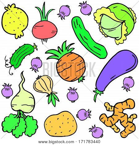 Doodle fresh vegetable vector art collection stock