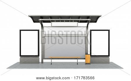 Bus stop on the white background. 3d illustration