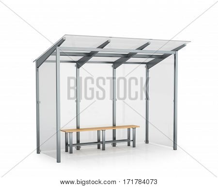 bus stop isolated on white background. 3D illustration