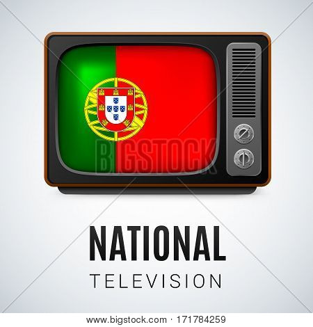 Vintage TV and Flag of Portugal as Symbol National Television. Tele Receiver with Portuguese flag