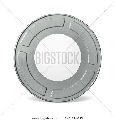 Movie reel canister isolated on a white background. White label 35 mm.