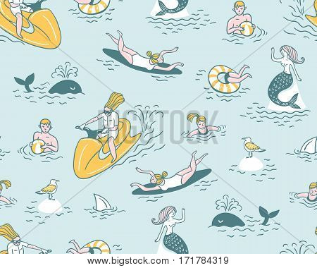 People actively relax, swim in the sea. Summer sea vacation illustration. Vector seamless pattern.