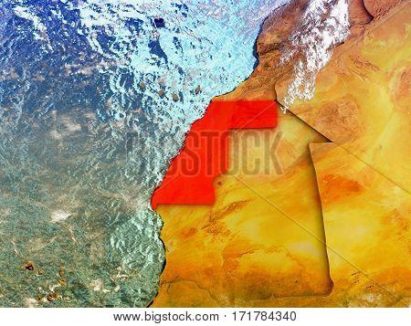 Western Sahara On Illustrated Globe