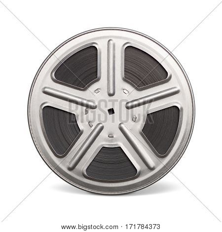 Movie film reel (35 mm) isolated on a white background.
