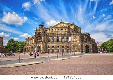 DRESDEN GERMANY - JUNE 7 2012: Semperoper is the opera house of the Sachsische Staatsoper Dresden Saxon State Opera and the concert hall of the Sachsische Staatskapelle Dresden. Saxony Germany.