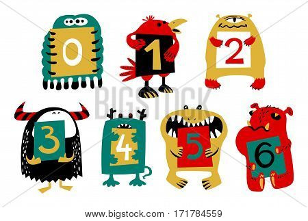Kids alphabet with сcute colorful monsters or insects. Funny fictional character with numbers in their paws. Vector illustration for school and education
