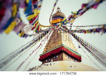 Boudhanath is a buddhist stupa in Kathmandu Nepal.