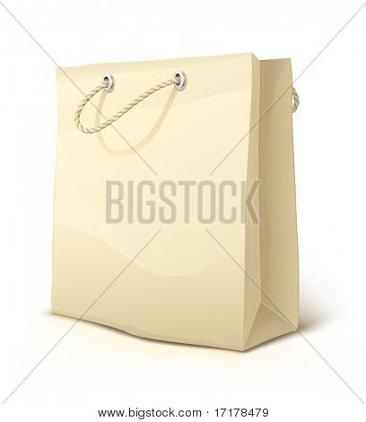 svuotare la carta shopping bag con manici isolati - vector illustration