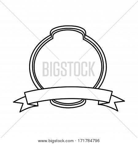 silhouette rounde heraldic decorative frame with label vector illustration