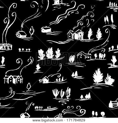 Hand drawn seamless pattern winter landscape with houses in doodle incomplete style. Artistic black and white illustration of country side. Design element for Christmas wrapping paper cards and posters