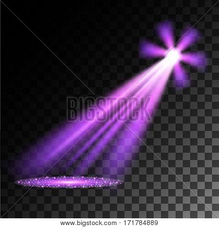Purple spotlights. Scene. Light Effects. Vector illustration