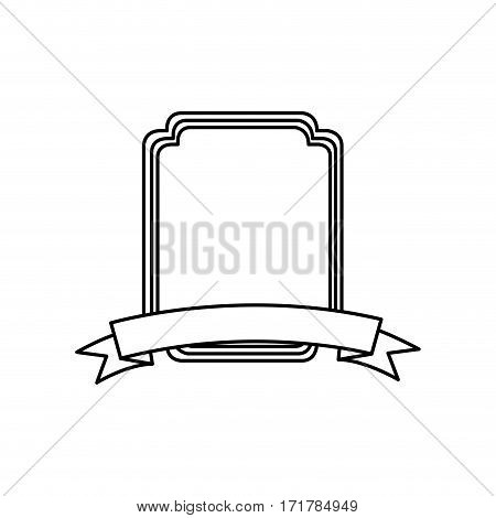 silhouette rectangle rounded decorative heraldic frame design vector illustration