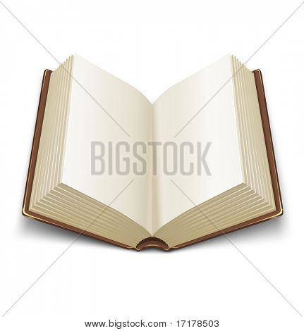 opened book with brown cover - vector illustration