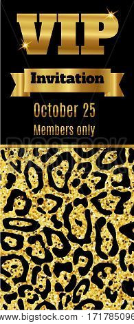 VIP club party premium invitation card flyer. Black and gold template. Vector illustration
