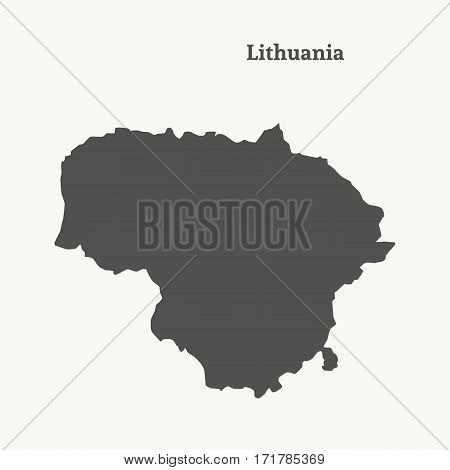 Outline map of Lithuania. Isolated vector illustration.