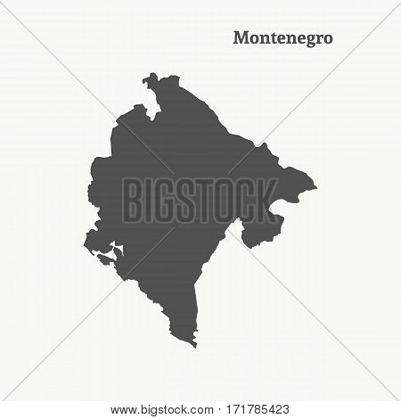 Outline map of Montenegro. Isolated vector illustration.