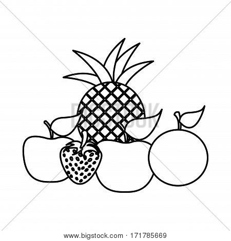 silhouette still life fruits icon food vector illustration