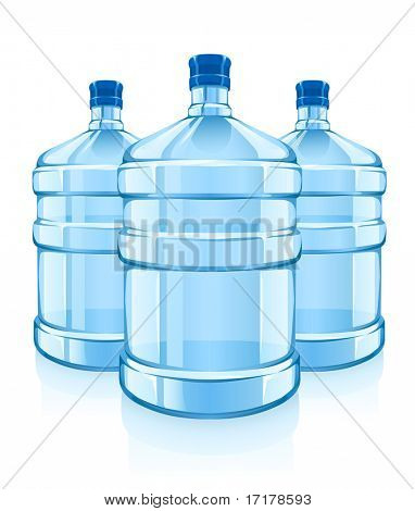three big bottles with clean blue water drink - vector illustration