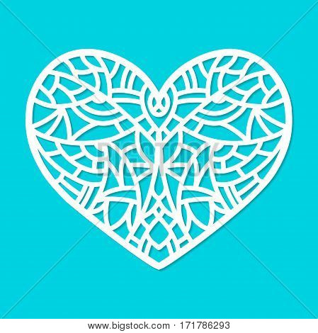Laser cut vector heart ornament. Cutout pattern silhouette with abstract shapes. Die cut element for wedding invitations, save the date, greeting card. Cutting template panel for paper, wood, metal