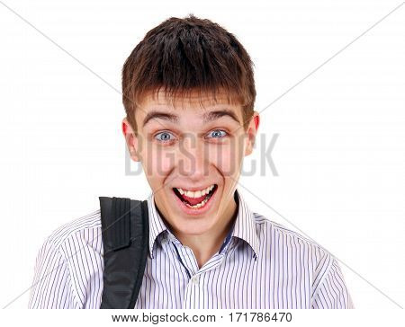 Cheerful Young Man Isolated on the White Background closeup
