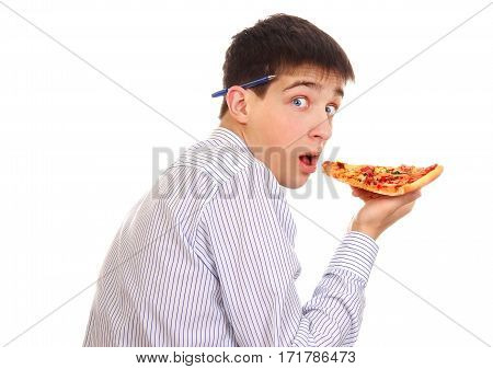 Hungry Young Man with a Pizza on the White Background