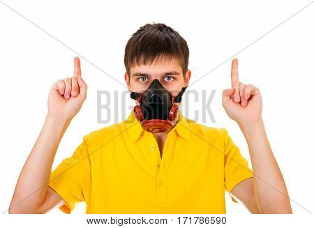 Young Man in Gas Mask Isolated on the White Background