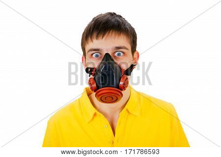 Surprised Young Man in Gas Mask Isolated on the White Background