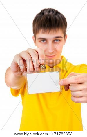 Young Man shows on Blank Badge on his Hand closeup on the White Background