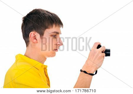 Young Man with a Photo Camera Isolated on the White Background