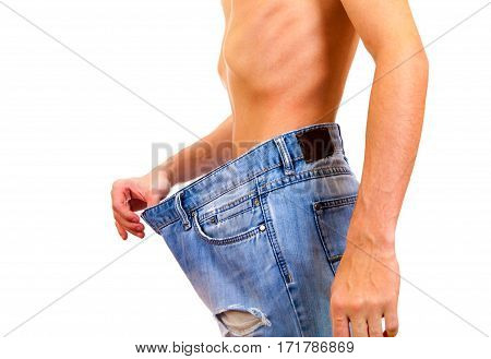 Skinny Young Man lose the Weight on the White Background